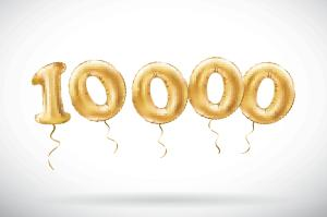 vector Golden number 10000 ten thousand metallic balloon. Party decoration golden balloons. Anniversary sign for happy holiday, celebration, birthday,
